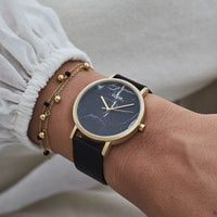 CLUSE La Roche Gold Black Marble/Black CL40004 - watch on wrist