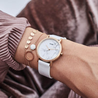 CLUSE La Roche Petite Rose Gold White Marble/White CL40110 - watch on wrist