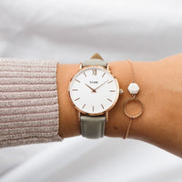 CLUSE Minuit Rose Gold White/Grey CL30002 - watch on wrist