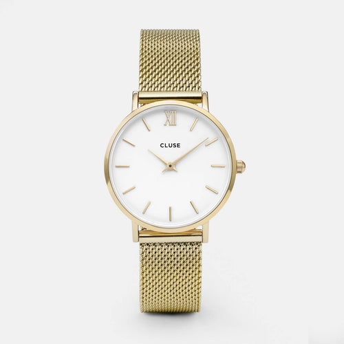 Image: CLUSE Minuit Mesh Gold/White CL30010 - watch