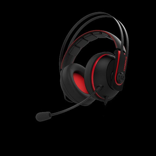 Asus Cerberus V2 gaming headset with 53mm Asus Essence drivers, stainless-steel headband, and wrap-around ear cushions