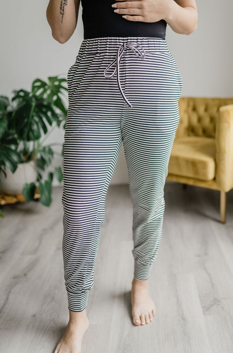 Dixie Black & White Striped Drawstring Joggers-Shewin-Cute-Womens-Boutique-Clothing-Shop-Emporium B