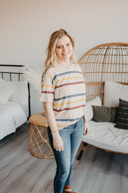 Wheaton Oatmeal Striped Tee-thread & supply-Cute-Womens-Boutique-Clothing-Shop-Emporium B