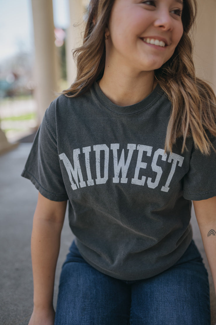 Midwest Charcoal Graphic Tee-oat collective-Cute-Womens-Boutique-Clothing-Shop-Emporium B