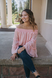 Cori Pink Sheer Off-Shoulder Top-Shewin-Cute-Womens-Boutique-Clothing-Shop-Emporium B
