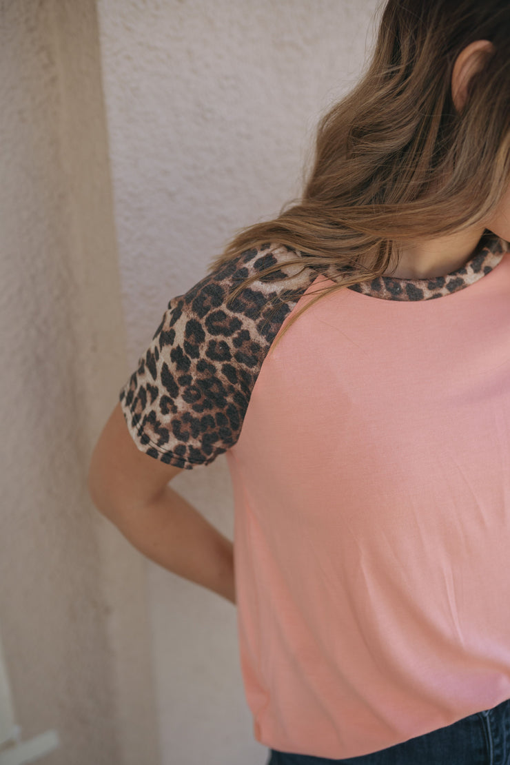 Harlowe Pink Leopard Top-perfect peach-Cute-Womens-Boutique-Clothing-Shop-Emporium B