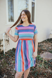 Tulsa Blue Multi Stripe Dress-WFS-Cute-Womens-Boutique-Clothing-Shop-Emporium B