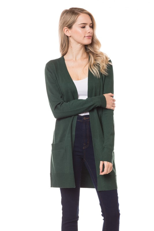 Ross Long Boyfriend Knit Cardigan - 3 Colors-cielo-small-olive-Cute-Womens-Boutique-Clothing-Shop-Emporium B