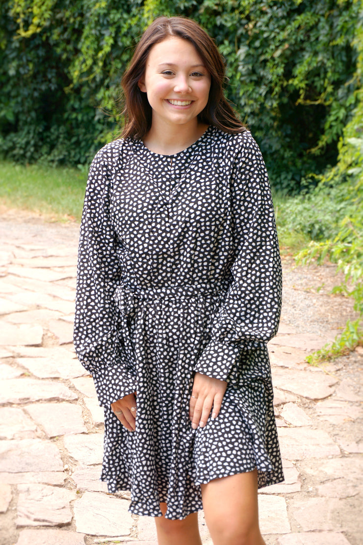 Sylvan Black Dalmatian Print Dress-Emporium B-Cute-Womens-Boutique-Clothing-Shop-Emporium B