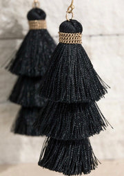Alissa Tiered Tassel Earrings - 5 Colors-Urbanista-Black-Cute-Womens-Boutique-Clothing-Shop-Emporium B