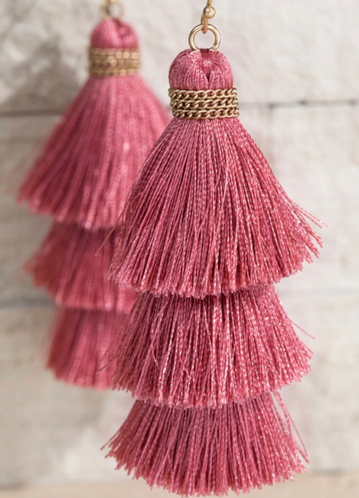 Alissa Tiered Tassel Earrings - 5 Colors-Urbanista-Pink-Cute-Womens-Boutique-Clothing-Shop-Emporium B