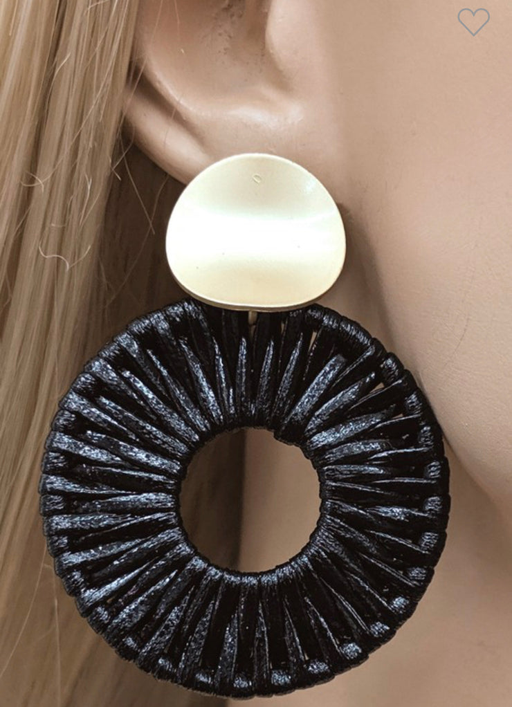 Nashville Black Round Leather Earring-Lucylou-Cute-Womens-Boutique-Clothing-Shop-Emporium B