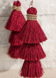 Alissa Tiered Tassel Earrings - 5 Colors-Urbanista-Burgundy-Cute-Womens-Boutique-Clothing-Shop-Emporium B