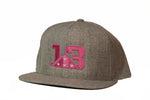 Heather Grey Flat brim Snapback Pink