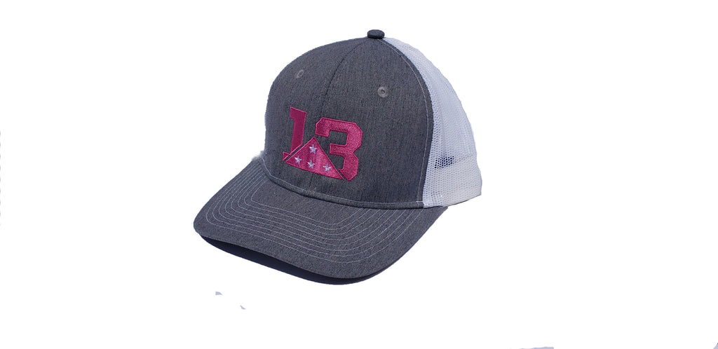 Heather Grey and Pink Trucker style