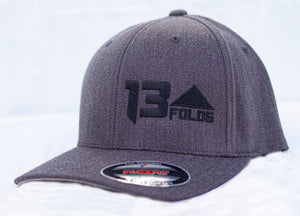 Charcoal flexfit with black 13 folds logo