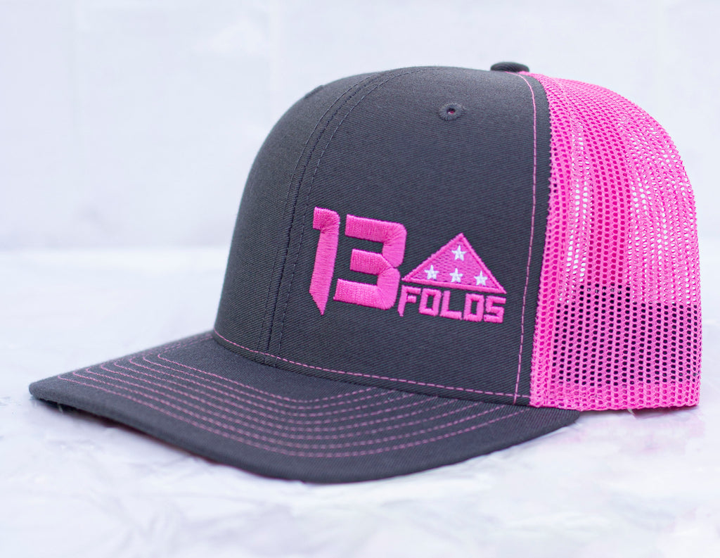 Charcoal/ neon pink trucker snap back Richardson 112