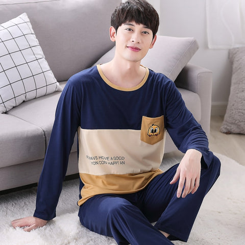 Men's Sleep & Lounge High Quality Casual Cotton Pajamas Sets For Men 2018 Autumn Winter Long Sleeve Pyjama Male Homewear Loungewear Mens Home Clothes