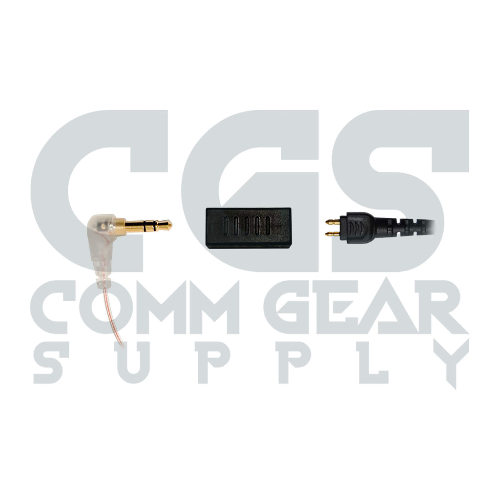 P/N: 2P-35 - Conversion Adapter- Converts 2 Pin Acoustic Assembly Connector & 3.5mm Female: For Stealth 360, Undercover Conversion, Peltor, 3M, Howard Leight Impact Pro, Impact Sport, Pro Ears, MSA & More.