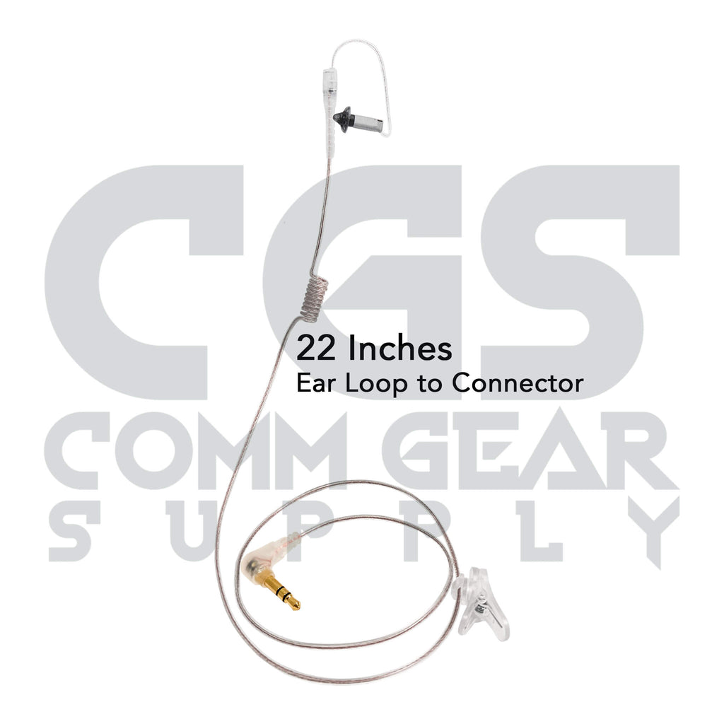 P/N: N-RO-360-22-2.5S: Ultra Stealth Covert/Tactical Radio Earpiece - 360, 2.5mm Connector - Harris, M/A Com, Otto, Tait, Kenwood 2-Pin - Connects To Speaker Mic
