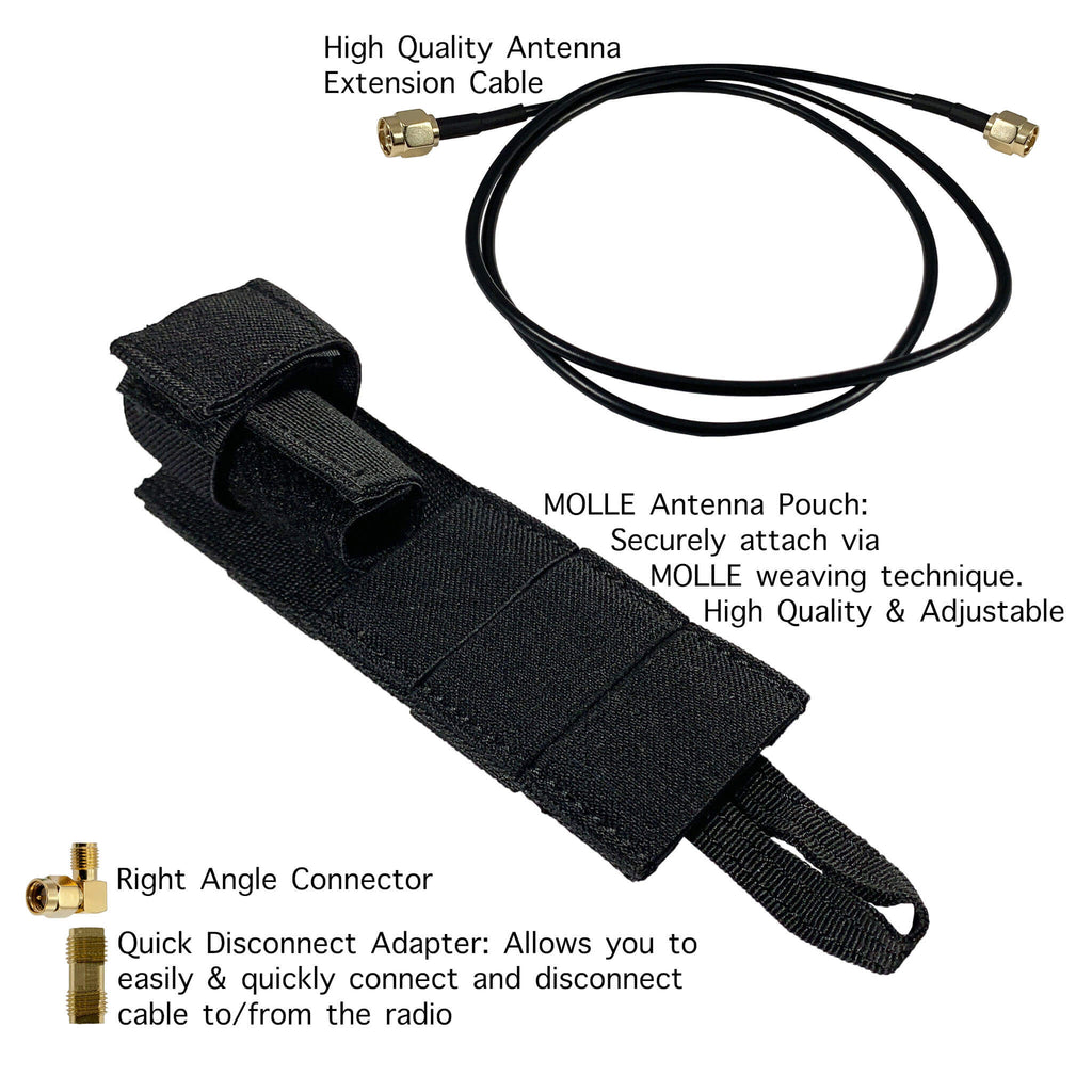 M.A.S.T Mast modular antenna system Tactical Antenna Relocation Kit - Motorola Series: HT, XTS, XPR, APX(APEX), MOTOTRBO APX900 APX1000 APX4000 APX6000/XE APX7000/L/XE APX8000 SRX2200 XPR6100 XPR6300 XPR6350 XPR6380 XPR6500 XPR6550 PR6580 XPR7350/e XPR7380/e XPR7550/e XPR7580/e DP3400 DP3401 DP3600 DP3601, PRC-153, XTS1500, XTS2500, XTS3000, XTS3500, XTS5000, HT1000, MTS2000, MTX Series, CP Series, ARK-MOTO