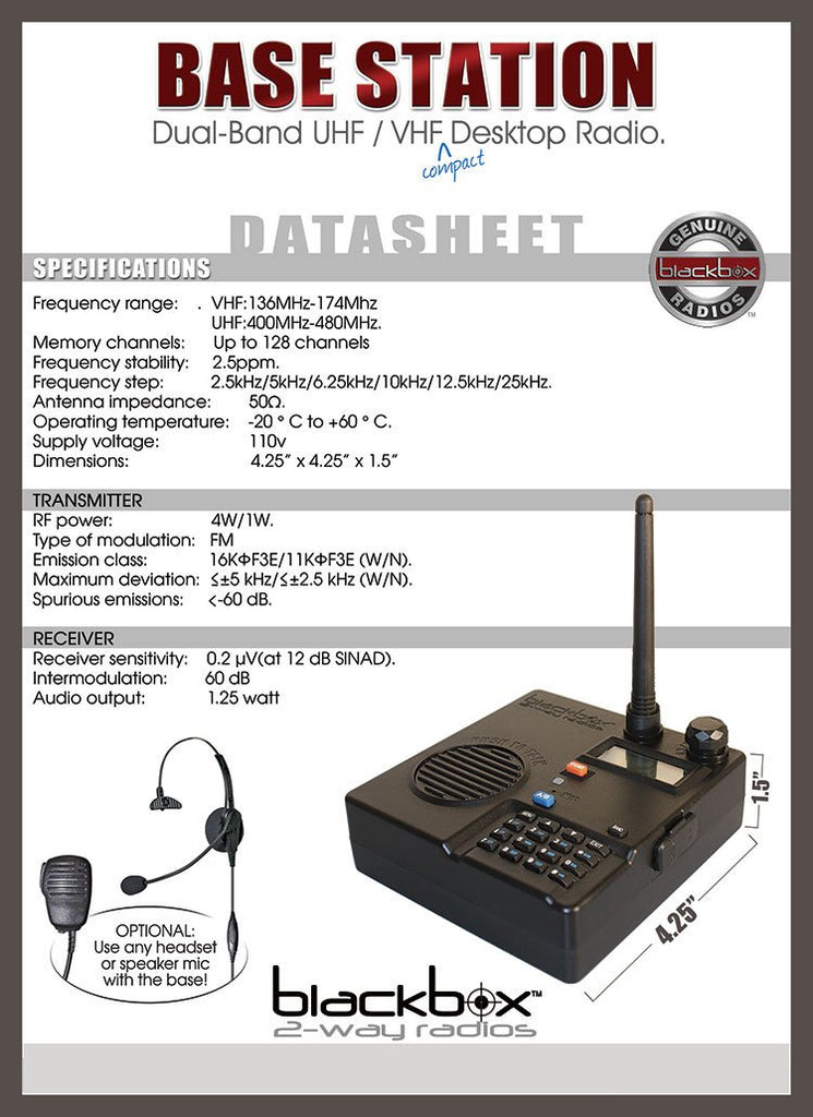 UHF/VHF Dual Band Desktop 2-Way Radio Base Station- Blackbox Base Kit - Indoor/Outdoor/Urban Professional Radio Base Station