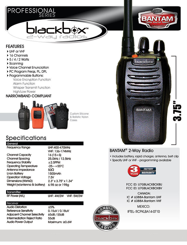 UHF 2-Way Radio - Bantam Kit - Indoor/Outdoor Urban Professional Radio