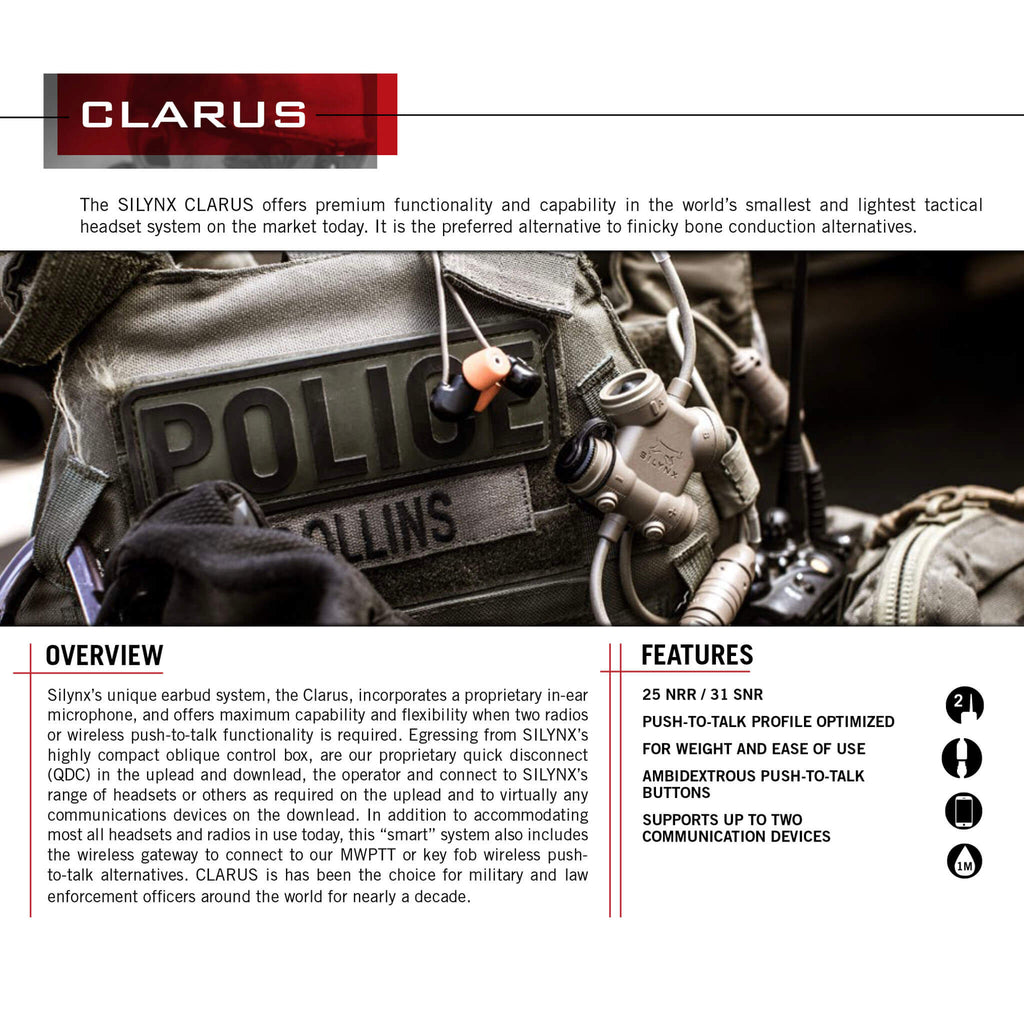 Clarus Tactical In-Ear Comms System IN0007+CA0252-0 For Harris(L3Harris) XG-100, XG-100P, XL-185, XL-185P, XL-185Pi, XL-200, XL-200P, XL-200Pi