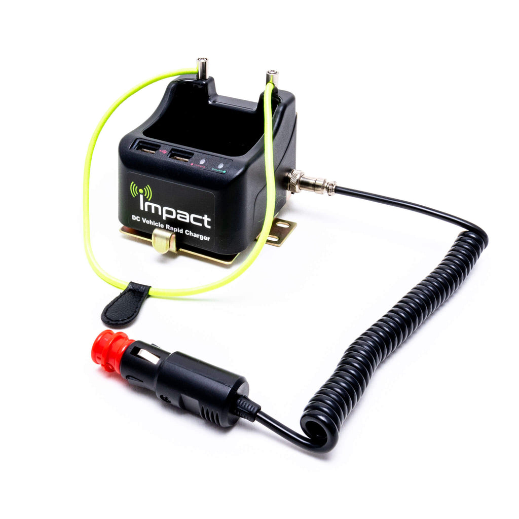 DC-1-USB-IC-5 - Radio walkie battery in vehicle car charger with usb ports