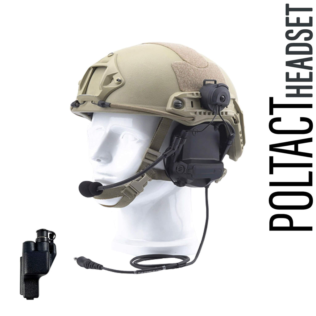 Tactical Radio Headset w/ Active Helmet Hearing Protection & Release Adapter - PTH-V2-23RR The Material Comms PolTact Helmet Headset & Quick Disconnect Push To Talk(PTT) Adapter For Motorola: XTS1500, XTS2500, XTS3000, XTS3500, XTS5000, HT1000, JT1000, MT2000, MTS2000, MTX838, MTX900, MTX8000, MTX9000, PR1500