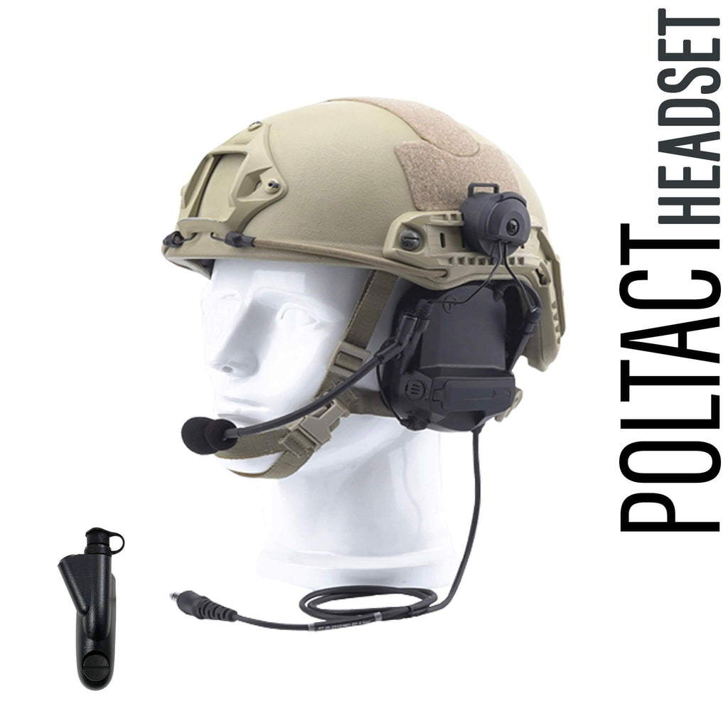 Tactical Radio Headset w/ Active Helmet Hearing Protection & Release Adapter - BaoFeng: UV9R, UV9R Plus, BF-A58, UV-XR, GT-3WP, BF-9700, UV-5S, BF-R760, UV-82WP