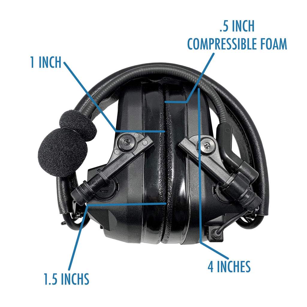 Tactical Radio Headset w/ Active Hearing Protection & Release Adapter - PTH-V1-23RR Material Comms PolTact Headset & Push To Talk(PTT) Adapter For EF Johnson: 5000, 5100, 8100, 51SL ES, 51 Fire ES, 51SL ES, 51LT ES, 7700, Ascend, AN/PRC127EFJ, VP400, VP600, VP900