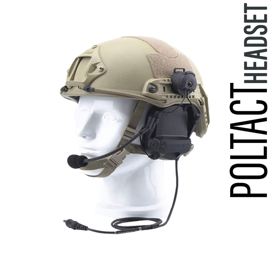 Tactical Radio Helmet Headset w/ Active Hearing Protection - PTH-V2-MIL Material Comms PolTact Headset & Push To Talk(PTT) Adapter For Tactical Radio Headset w/ Active Hearing Protection - Harris(L3Harris) Falcon III/Thales: AN/PRC-113, AN/PRC-119, AN/PRC-150, AN/PRC-152, AN/PRC-154, AN/PRC-117, AN/PRC-119, Thales MBITR AN/PRC-148 & other PRC ASIP SINCGARS Radios w/ U-229(5 Pin) & U-329(