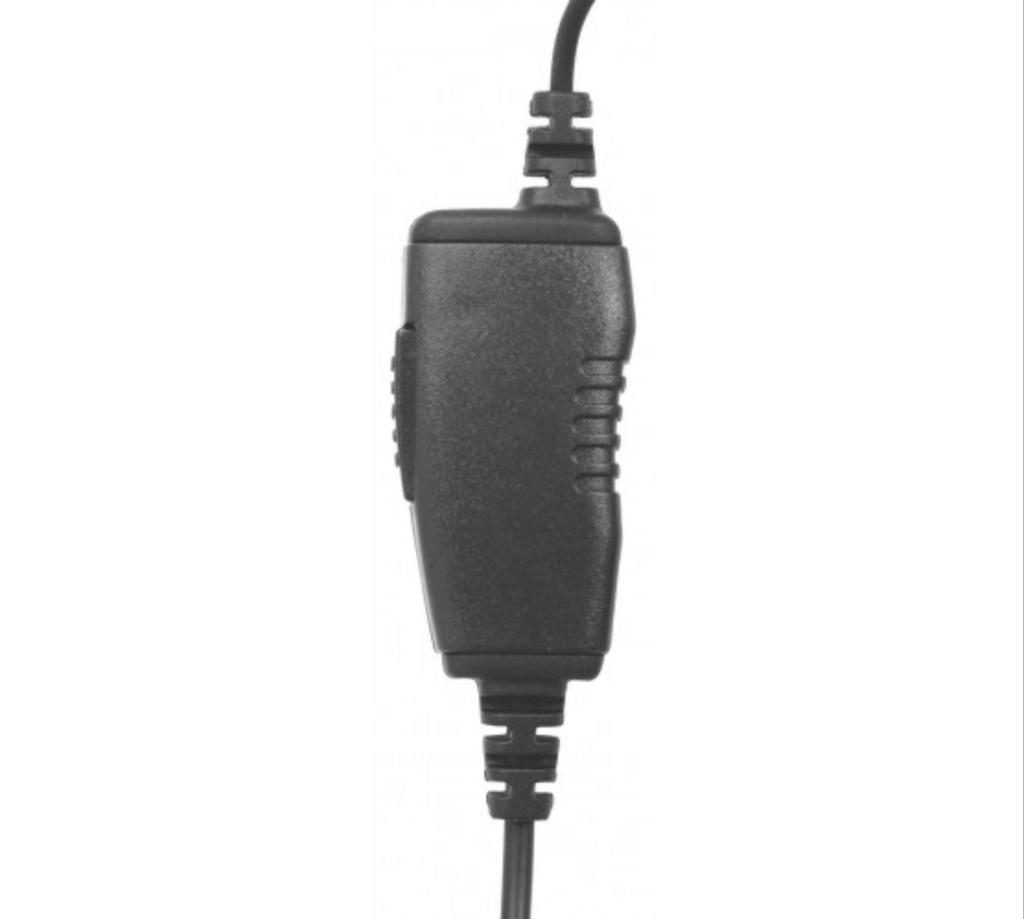 In-Line Mic w/ Ear hook Ear Hook 1 Wire: A straight through in-line PTT with  PTT microphone.