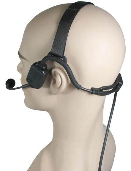 Temple Transducer Boom Mic Headset