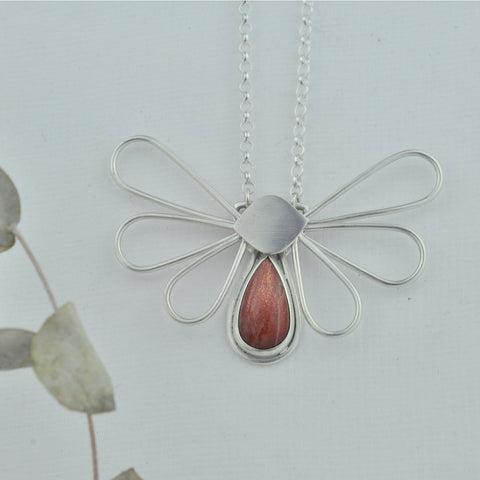 Moth silver necklace moveable pear sunstone body