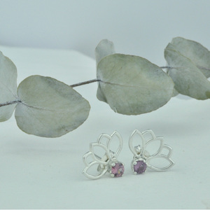 Small Lotus Garnet silver studs, January birthstone