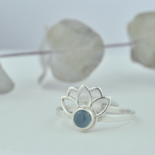 Aquamarine bezel set 3 Lotus Fan Silver ring