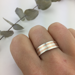 Silver and rose gold stripe ring