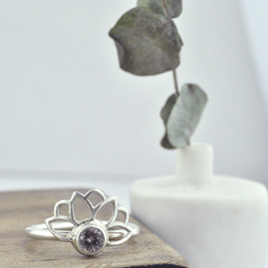 Pale Pink bezel set Spinel Lotus Fan silver ring
