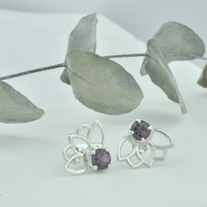 Large Lotus Garnet Silver studs, January Birthstone