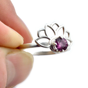 Lotus Fan Pink Spinel Silver Ring