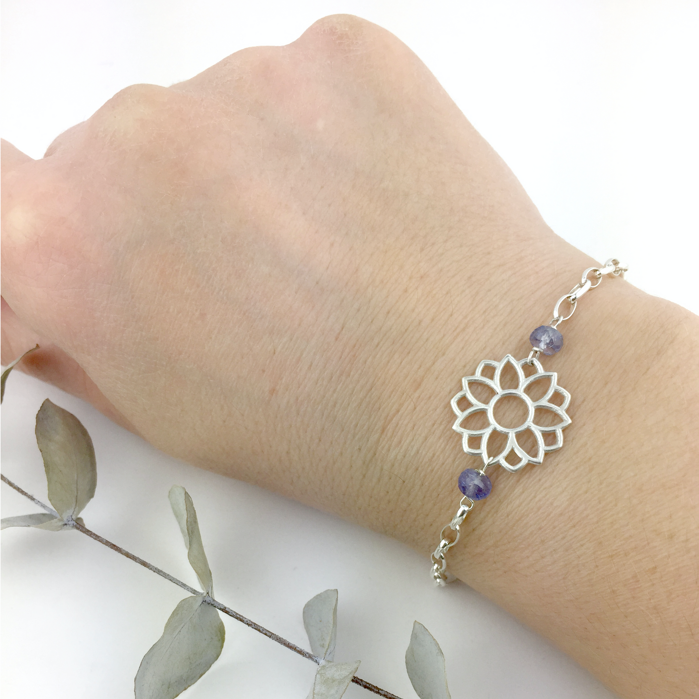 Tanzanite December birthstone Sterling Silver bracelet, Lotus flower.
