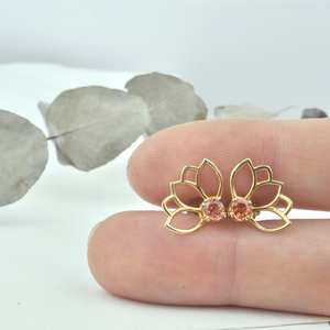 Lotus Rose Gold Plated Peach Sapphire Studs