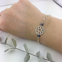 Sapphire September birthstone Sterling Silver bracelet, Lotus flower.