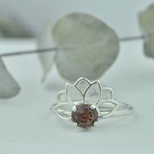 Dusty Pink Oval Zircon Lotus Wings Silver Ring