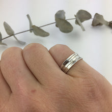 Wave etched silver ring