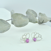 Lotus Pink Spinel Silver Studs