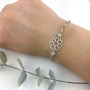 March birthstone Silver bracelet, Aquamarine Lotus flower.