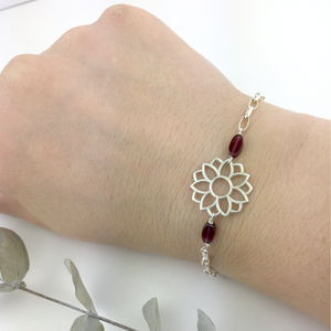 January birthstone Silver bracelet, Garnet Lotus flower.